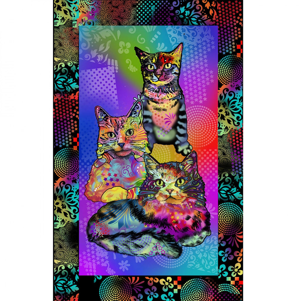 Crazy for Cats - Cat Panel  Fabric - StoryQuilts.com