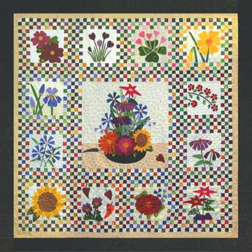 Center and Assembly - Checkerboard Flowers  Pattern - StoryQuilts.com