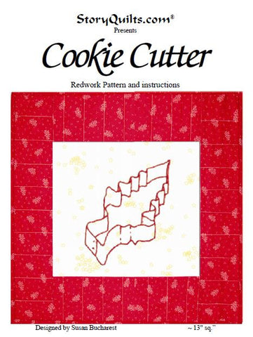 Cookie Cutter - Redwork  Pattern - StoryQuilts.com