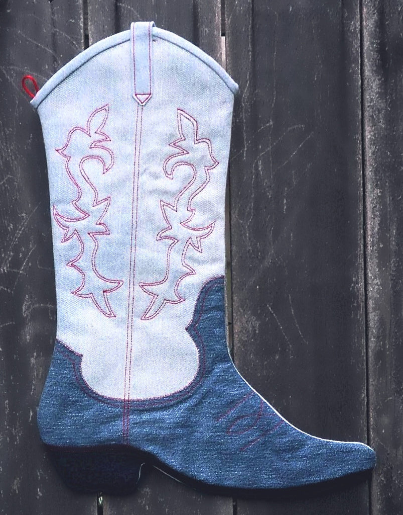 Denim Boot Christmas Stocking  Pattern - StoryQuilts.com