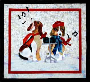 Caroling Beagles - Not so Silent Night  Pattern - StoryQuilts.com