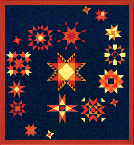 Pieced star quilt with a Double Ohio Star, Spinning Star, Square in Star, Wyoming Star, Floating Star, Heavenly Star, Providence Star, Prairie Star, Sun Ray Star,  Feathered Star,  Friendship Star