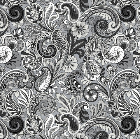 Paisley Sorbet Black/Grey by David Textiles  Fabric - StoryQuilts.com