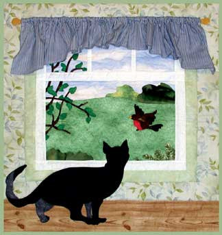 Hey You - Cat and Bird Wall Hanging  Pattern - StoryQuilts.com
