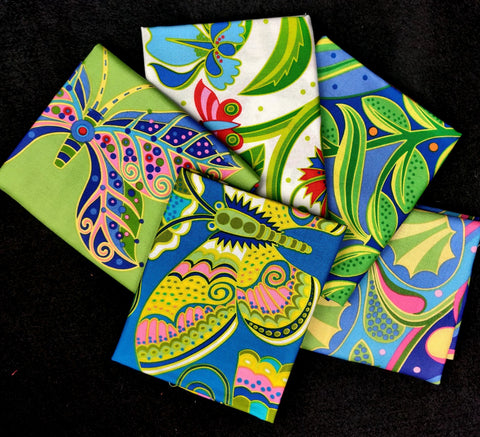 Jane Sassaman 5 Assorted Fat Quarters  Fabric - StoryQuilts.com