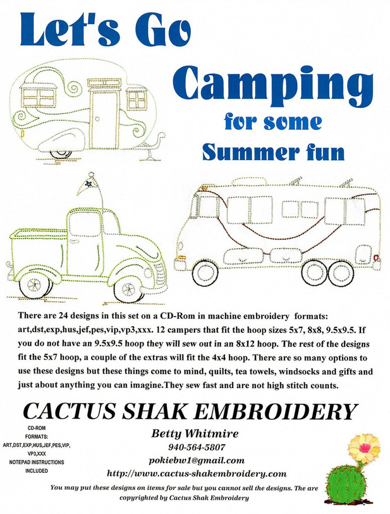 Lets Go Camping For Summer Fun Machine Embroidery CD  Pattern - StoryQuilts.com