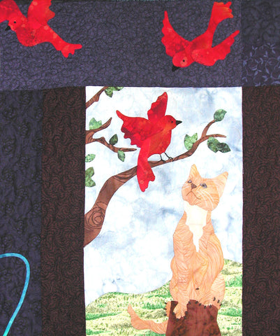 Wednesday's Cat - Block 3  Pattern - StoryQuilts.com