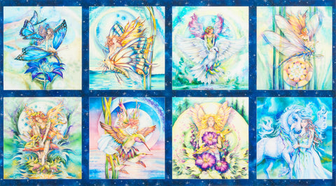 Morning Moon Fairies Panel  Fabric - StoryQuilts.com