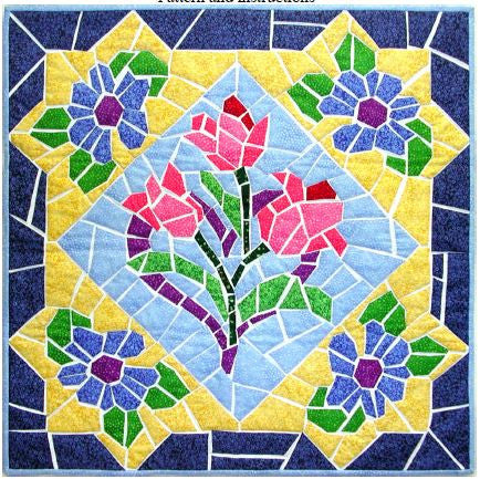 Mosaic Flowers  Pattern - StoryQuilts.com