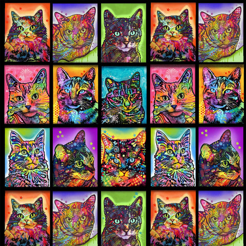 Multi Crazy For Cats Patch  Fabric - StoryQuilts.com