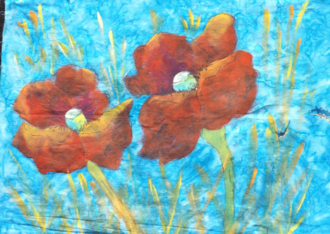 Scarlet Poppies  Hand Painted - StoryQuilts.com