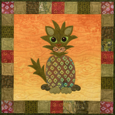 Pineapple Persian - Garden Patch Cats  Pattern - StoryQuilts.com