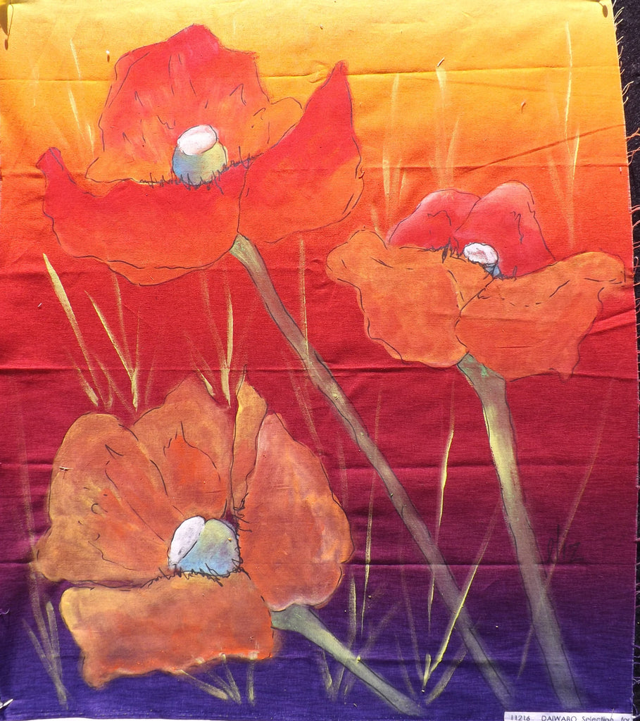 Trio of Bright Poppies  Hand Painted - StoryQuilts.com