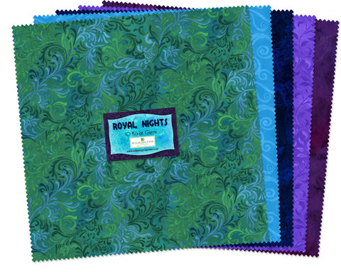 Essential Gens Royal Nights 10 in Squares  Fabric - StoryQuilts.com