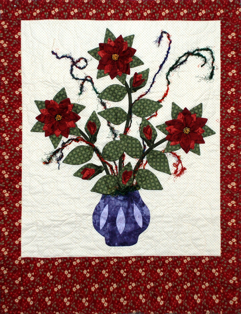 poinsetta christmas card holderwall hanging pattern storyquiltscom - Christmas Card Holder Wall Hanging