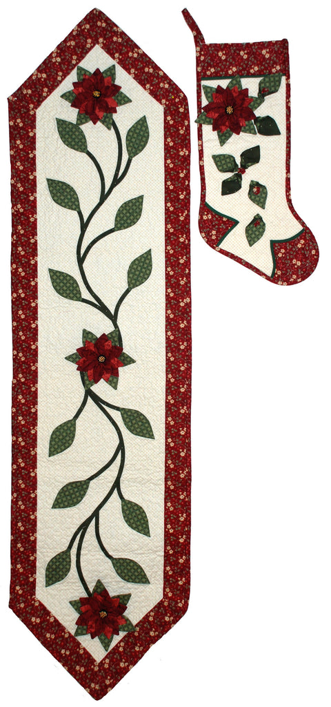 Poinsettia Stocking and Table Runner  Pattern - StoryQuilts.com