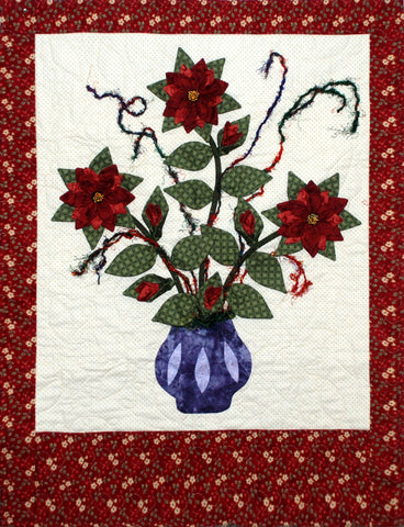 Poinsetta Christmas Card Holder/Wall Hanging  Pattern - StoryQuilts.com