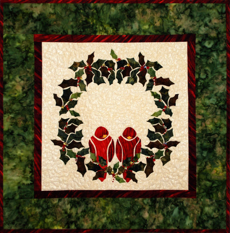 Redbirds in a Wreath  Pattern - StoryQuilts.com