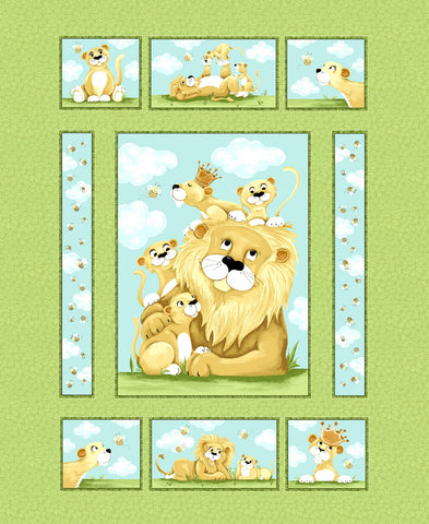 Green Lyon the Lion Quilt Panel 36in