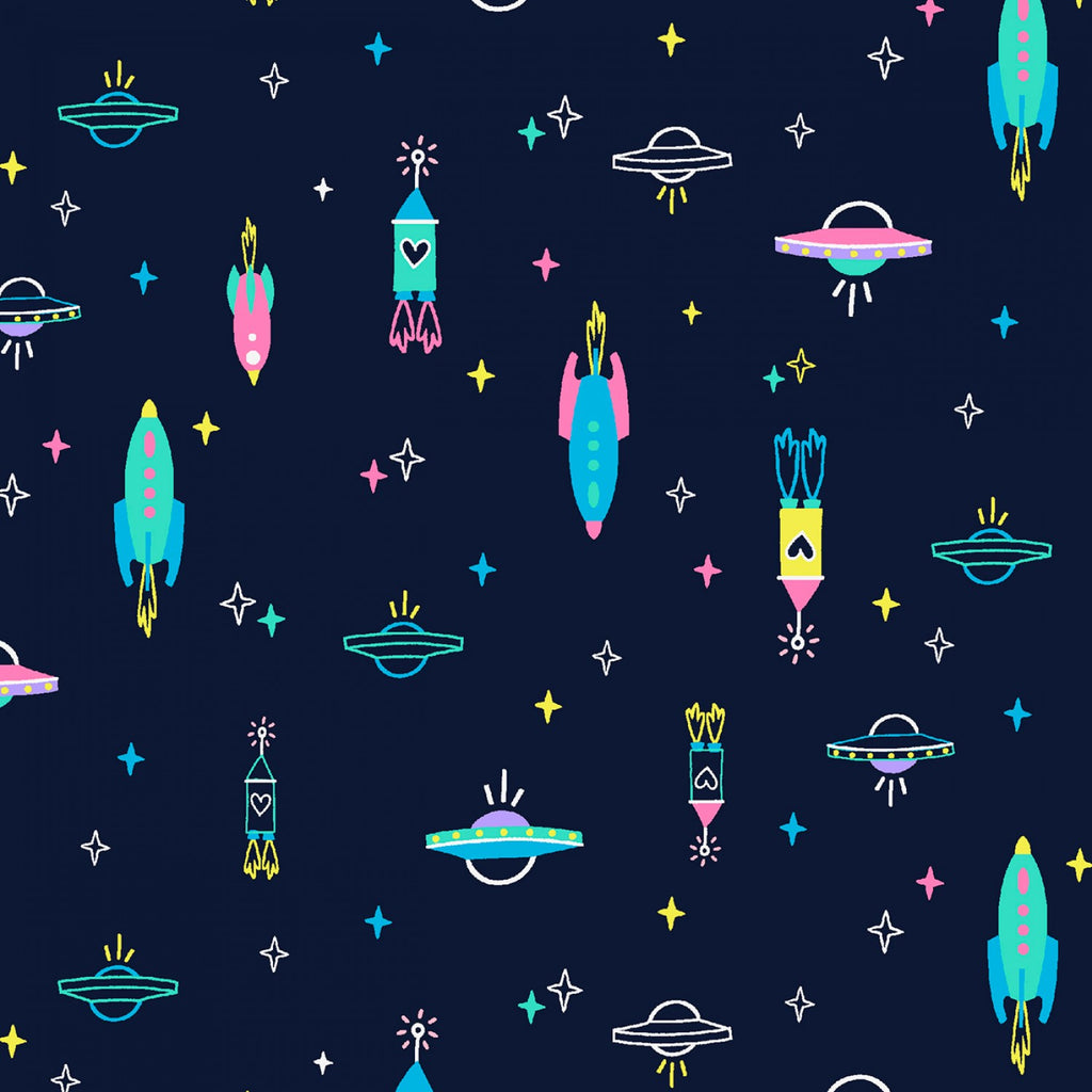Midnight Spaceships  Fabric - StoryQuilts.com
