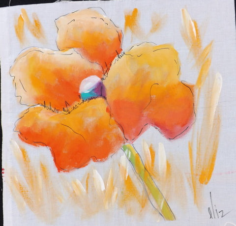 Hand Painted Single Golden Poppy Block  Hand Painted - StoryQuilts.com