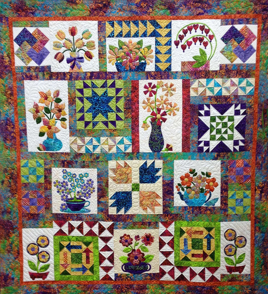 Flowers from Tangiers – Setting the Blocks and Finishing  Pattern - StoryQuilts.com