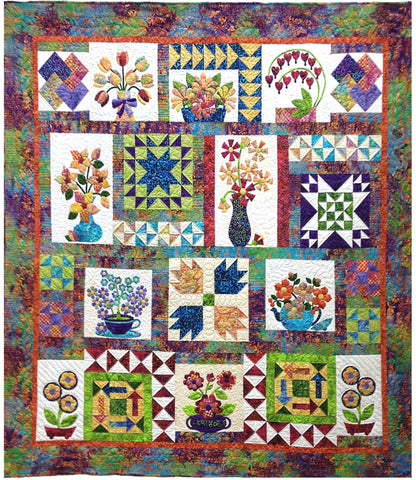 Flowers From Tangiers Complete Set  Pattern - StoryQuilts.com