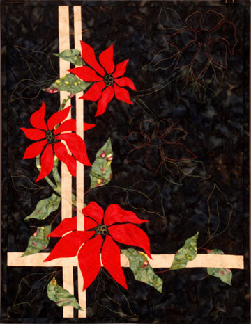 Three Poinsettias - Trellis Quilts  Pattern - StoryQuilts.com