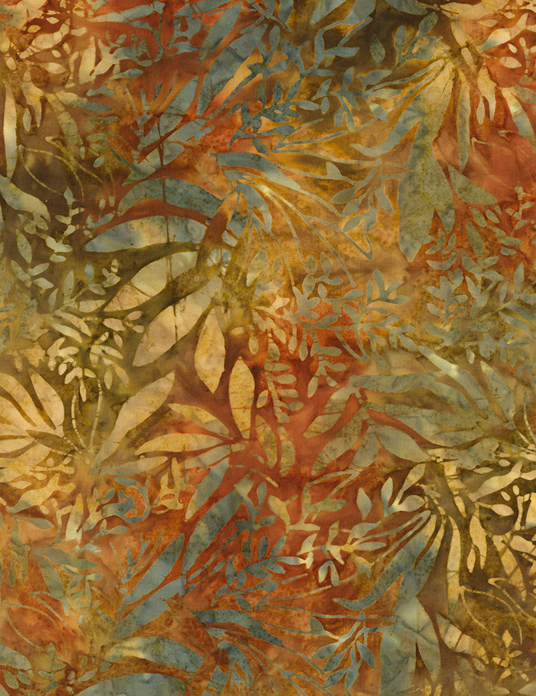 Timeless Treasures Nutmeg Tonga Batiks Foliage Batik  Fabric - StoryQuilts.com