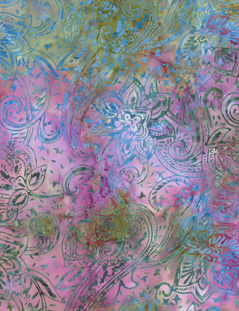 Timeless Treasures Tonga Orchid Batiks Jacobean Paisley- Terrain  Fabric - StoryQuilts.com