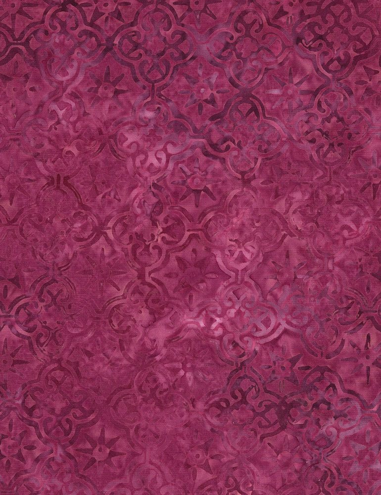 Timeless Treasures Tonga Orchid Batiks Geo - Magenta  Fabric - StoryQuilts.com