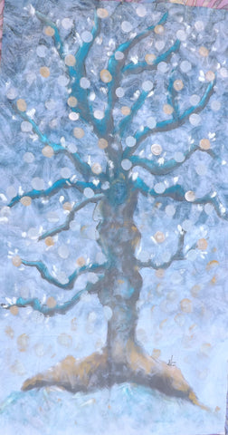 A Winter Tree  Hand Painted - StoryQuilts.com