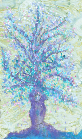 A Young Tree Bursting with Leaves  Hand Painted - StoryQuilts.com