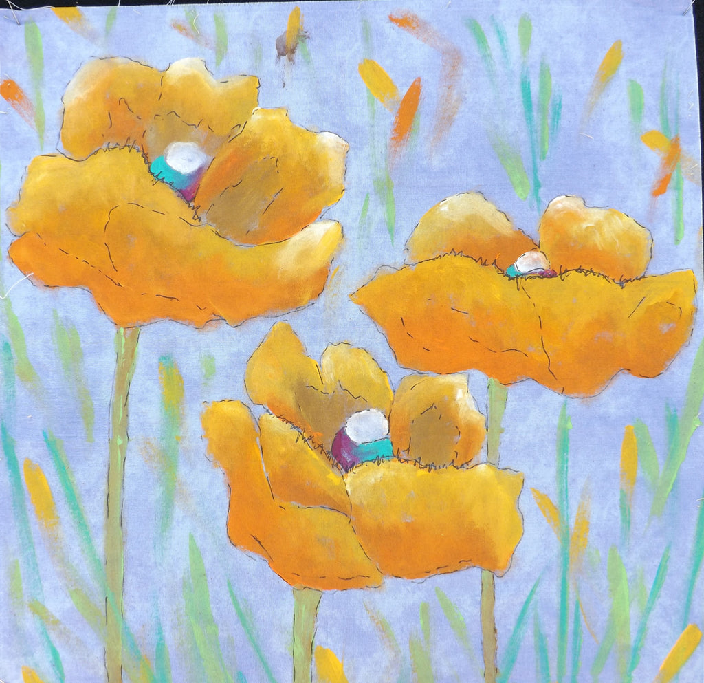 Trio of Golden Poppies  Hand Painted - StoryQuilts.com
