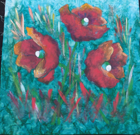 A Trio of Poppies  Hand Painted - StoryQuilts.com