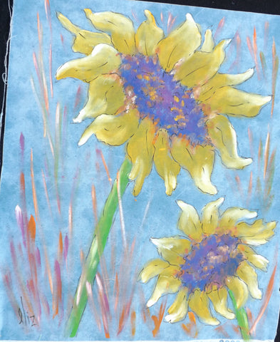 Two Sunflowers  Hand Painted - StoryQuilts.com