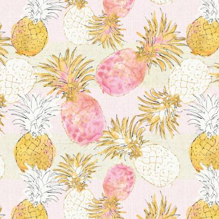 Pink/Gold Pineapple Paradise  Fabric - StoryQuilts.com