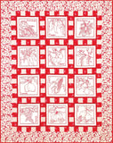 Fresh Crop Redwork Quilt  Pattern - StoryQuilts.com
