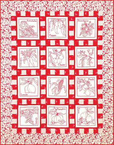 Fresh Crop Redwork Quilt