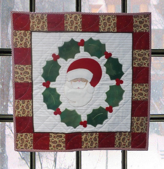 Santa in a Wreath  Pattern - StoryQuilts.com