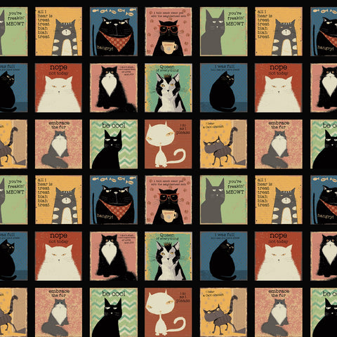 Black Snarky Cats Blocks Quilt Fabric by Clothworks