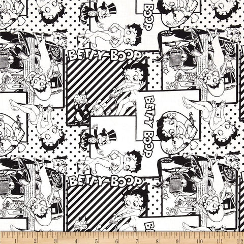 Betty Boop Black and White Fabric  Fabric - StoryQuilts.com
