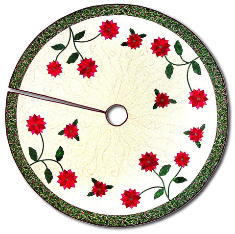 Poinsettia Tree Skirt  Pattern - StoryQuilts.com