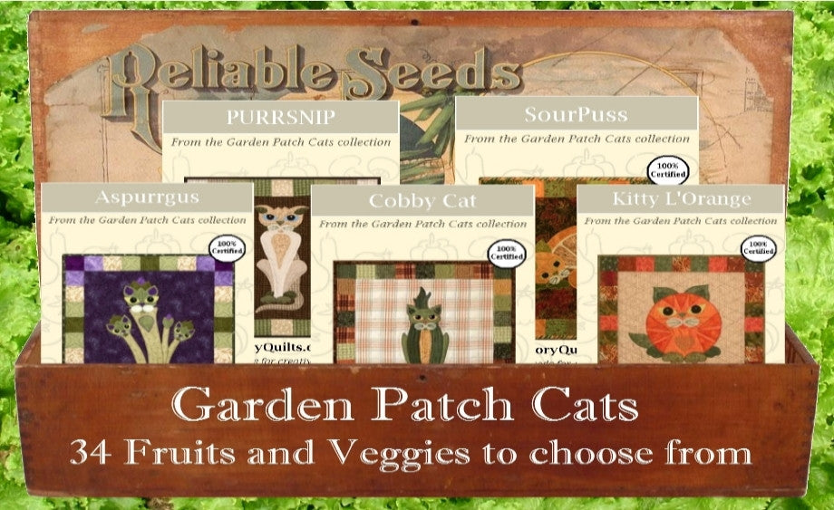 Garden patch cats, cats, applique, Helene Knott