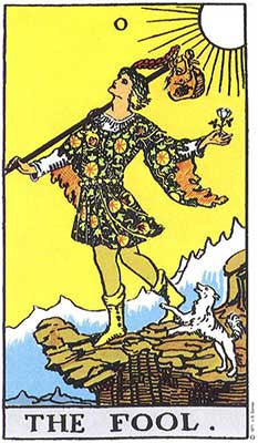 The Fool Meaning - Original Rider Waite Tarot Depiction