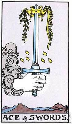 Ace of Swords Meaning - Original Rider Waite Tarot Depiction
