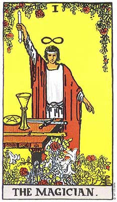 The Magician Meaning - Original Rider Waite Tarot Depiction