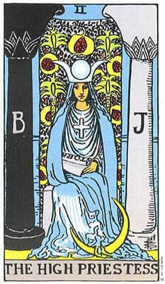 High Priestess Meaning - Original Rider Waite Tarot Depiction