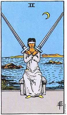 Two of Swords Meaning - Original Rider Waite Tarot Depiction