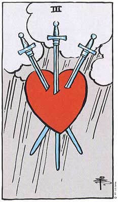 Three of Swords Meaning - Original Rider Waite Tarot Depiction